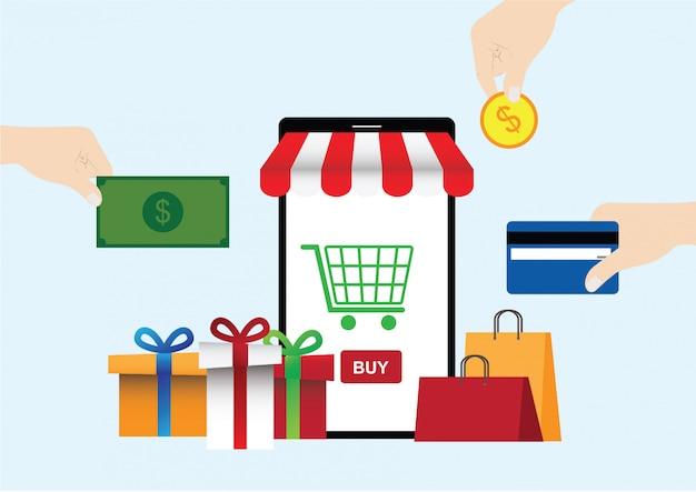 Concept de vecteur d'achats de téléphone mobile en ligne