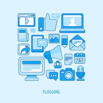Concept de vecteur - blogging et écriture pour site web
