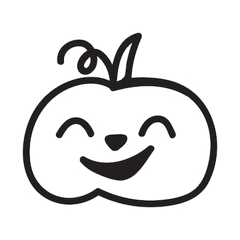 Concept de vecteur de citrouille d'halloween dans l'illustration dessinée à la main de style doodle et croquis
