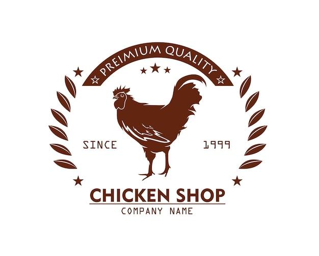 Concept de vecteur de conception de logo de magasin de poulet