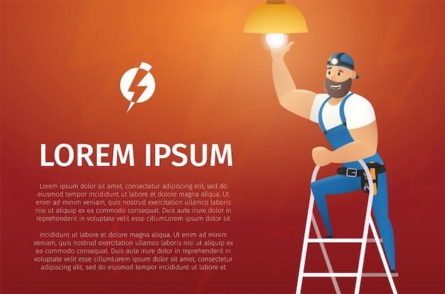 Concept de vecteur de dessin animé service électricien
