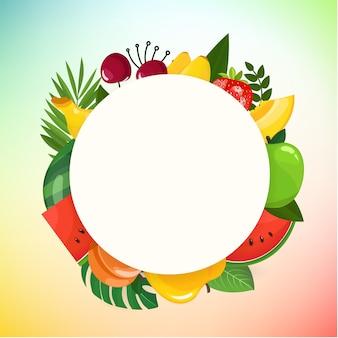 Concept de vecteur avec des fruits de couleur