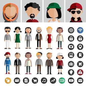 Concept de vecteur de gens icône de mode de vie contemporain