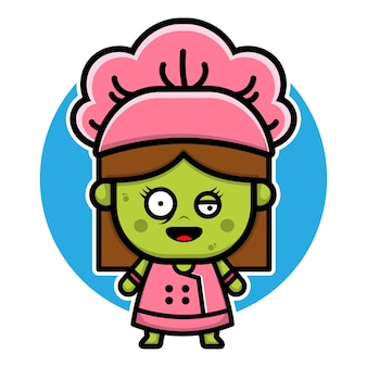 Concept de vecteur halloween mignon zombie girl chef personnage design