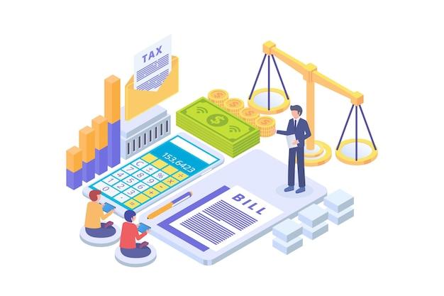 Concept de vecteur isométrique de droit de paiement d'impôt