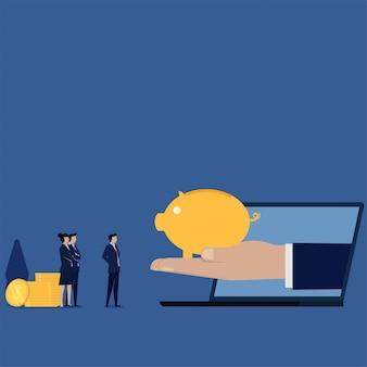 Concept de vecteur plat affaires main tenir la tirelire de la métaphore de l'ordinateur portable de l'épargne en ligne.