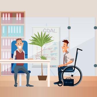 Concept de vecteur plat emploi personne handicapée