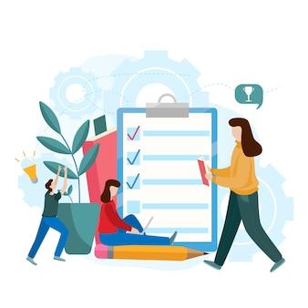 Concept de vecteur plat de l'examen en ligne, sous forme de questionnaire, de l'éducation en ligne, enquête, questionnaire internet