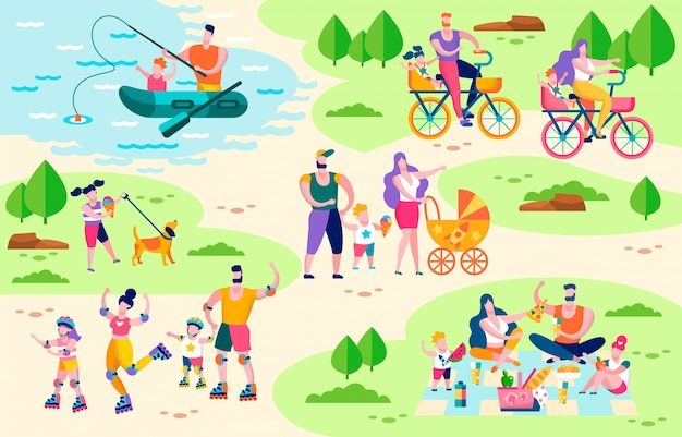 Concept de vecteur plat de famille active loisirs de plein air