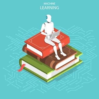 Concept de vecteur plat isométrique d'apprentissage automatique ai