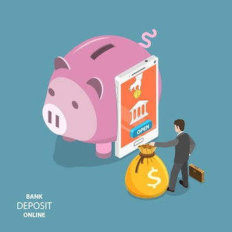 Concept de vecteur plat isométrique de dépôt bancaire en ligne.