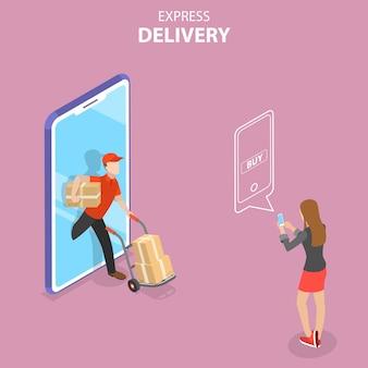 Concept de vecteur plat isométrique du service de messagerie de livraison express