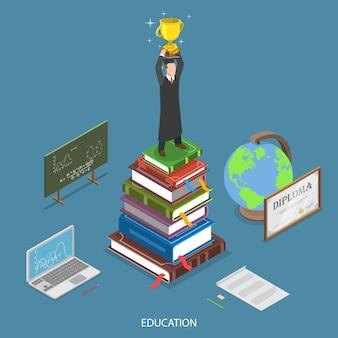 Concept de vecteur plat isométrique de l'éducation.