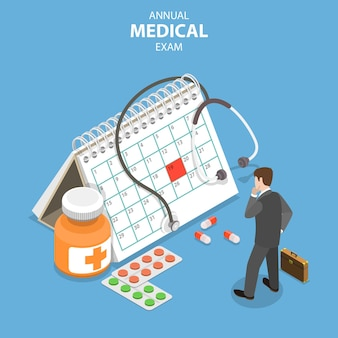 Concept de vecteur plat isométrique d'examen médical annuel, bilan de santé, services médicaux.