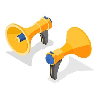 Concept de vecteur plat isométrique d'un haut-parleur jaune.