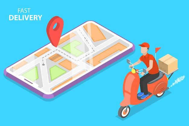 Concept de vecteur plat isométrique de livraison par service de messagerie scooter