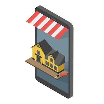 Concept de vecteur plat isométrique de recherche en ligne immobilier. à vendre ou à louer vitrines téléphone