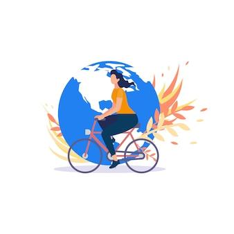 Concept de vecteur plat de mouvement de cyclistes dans le monde entier