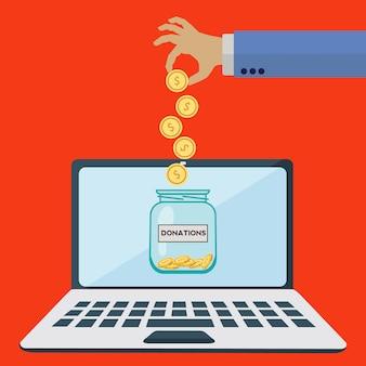 Concept de vecteur de pot de dons en ligne