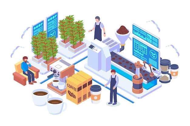 Concept de vecteur de production de café isométrique