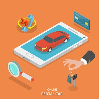 Concept de vecteur de service de voiture de location en ligne.