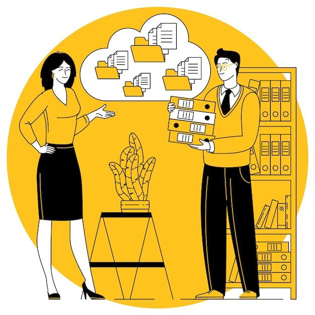 Concept de vecteur de solution de document d'entreprise cloud design plat. erp cloud.