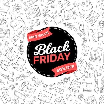 Concept de vendredi noir dessiné à la main