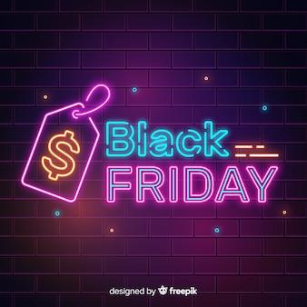 Concept de vendredi noir avec enseigne au néon