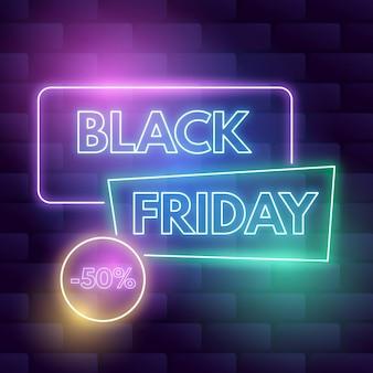 Concept de vendredi noir néon