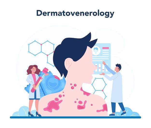Concept de vénéréologue. diagnostic professionnel de la maladie dermatologique