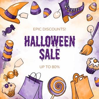 Concept de vente aquarelle halloween