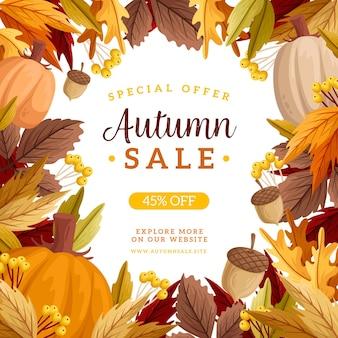 Concept de vente automne dessiné à la main