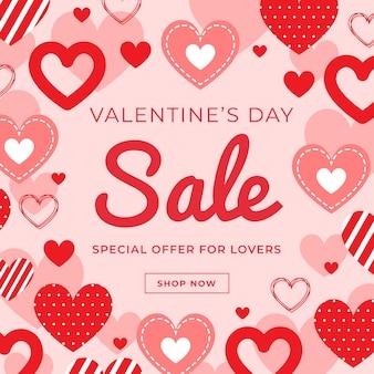 Concept de vente de design plat valentines day