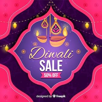 Concept de vente diwali dessiné à la main