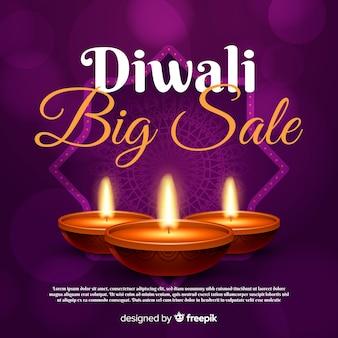 Concept de vente diwali avec fond réaliste