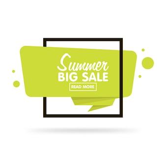 Concept de vente d'été. autocollant de style origami et tampon de bannière. isolé sur fond blanc. vide pour votre texte, site web et projets.