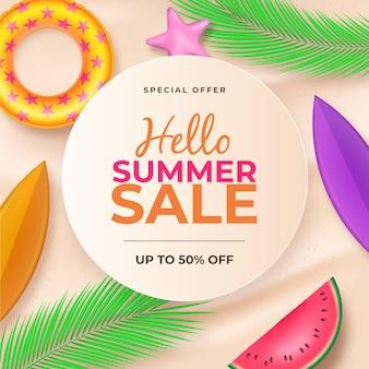 Concept de vente d'été bonjour réaliste