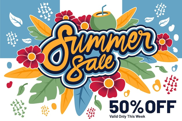 Concept de vente d'été coloré