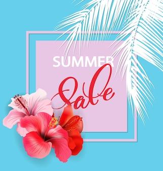 Concept de vente d'été. fond d'été avec des fleurs tropicales. vecteur de modèle.