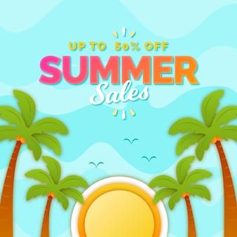Concept de vente d'été plat
