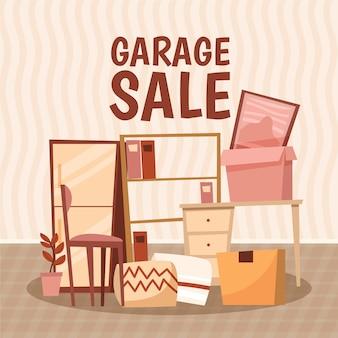 Concept de vente de garage avec des articles