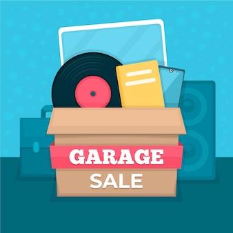 Concept de vente de garage avec boîte d'article