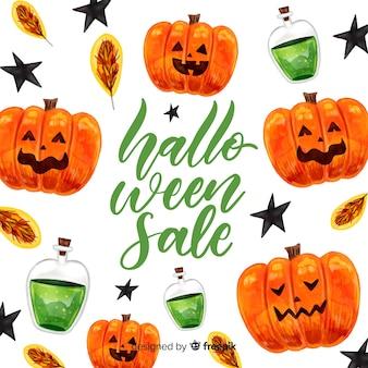 Concept de vente halloween à l'aquarelle