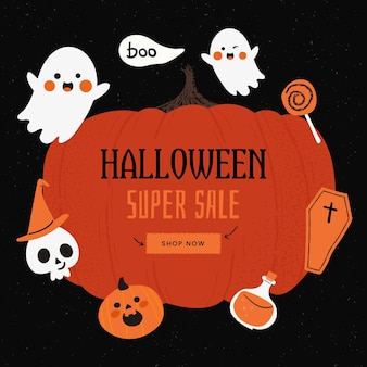 Concept de vente halloween dessiné à la main