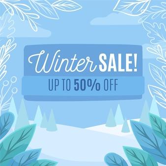 Concept de vente d'hiver dessiné à la main