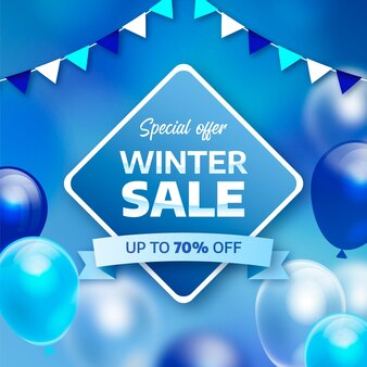 Concept de vente d'hiver réaliste