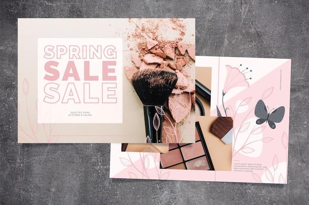 Concept de vente de printemps avec accessoires de maquillage