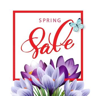 Concept de vente de printemps. fond de printemps avec des crocus en fleurs. vecteur de modèle.