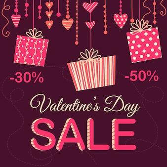 Concept de vente saint valentin dessiné à la main