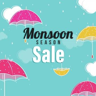 Concept de vente de saison de mousson